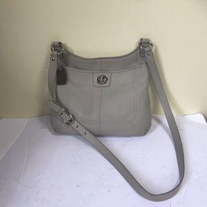 Coach Penelope Leather Slim Crossbody Pebbled Handbag Hippie Gray Silver Pocket